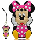 For Samsung Galaxy S3 i9300 SIII Disney Minnie Mouse 3D Cute Doll Soft Silicone Case Cover with Anti-dust Minnie Mouse Pen (Class 4)