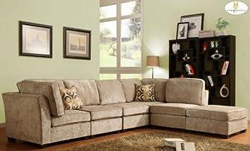 Homelegance U9709CN-SECT-B Burke Sectional Sofa Set B - Brown Beige Chenille