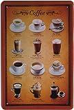 Blechschild Kaffee Sorten Tassen 20 x 30cm Reklame Retro Blech 797