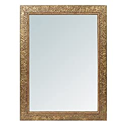999Store fiber framed decorative wall mirror or bathroom mirror golden (24x18 Inches)