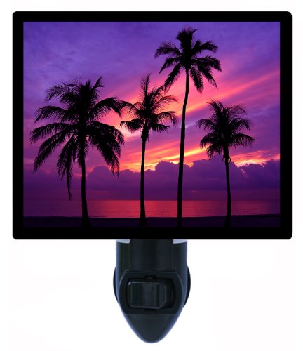 Tropical Night Light - Almost Paradise - Palm Tree Sunset - Led Night Light front-55745