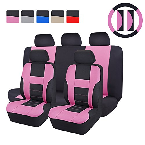 CAR PASS - 14PCS Max Universal Car Seat Covers Set ,Airbag Compatiable (BLACK WITH PINK) (Pink Toyota Corolla Seat Covers compare prices)