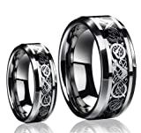 His & Hers 8MM/6MM Dragon Design Tungsten Carbide Wedding Band Ring Set (Available Sizes 5-14 Including Half Sizes) Please e-mail sizes