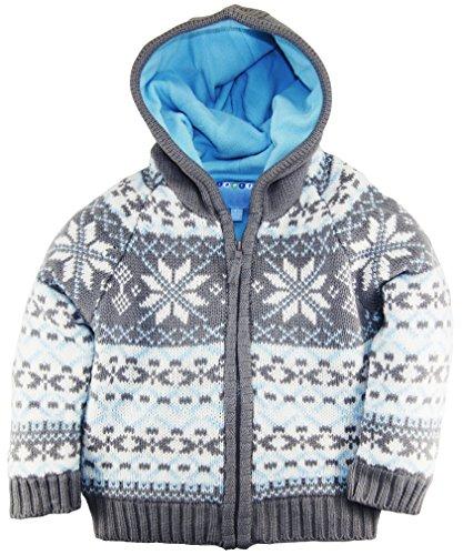 Wippette Little Boys Nordic Hooded Winter Cardigan Sweater Jacket, Gray, 4T