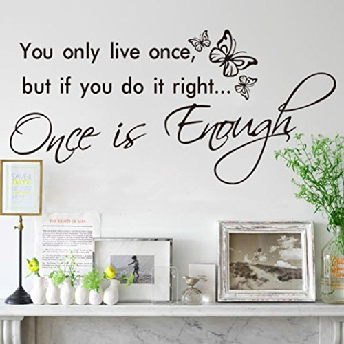 Hatop You only live once Art Vinyl Quote Decal Mural Room Home Wall Sticker Decor (Wall Decals Quotes One Direction compare prices)