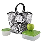 Nantucket Insulated Lunch Bag Kit with Lunch Pod & 1 Cup (Black & White Garden Bloom)