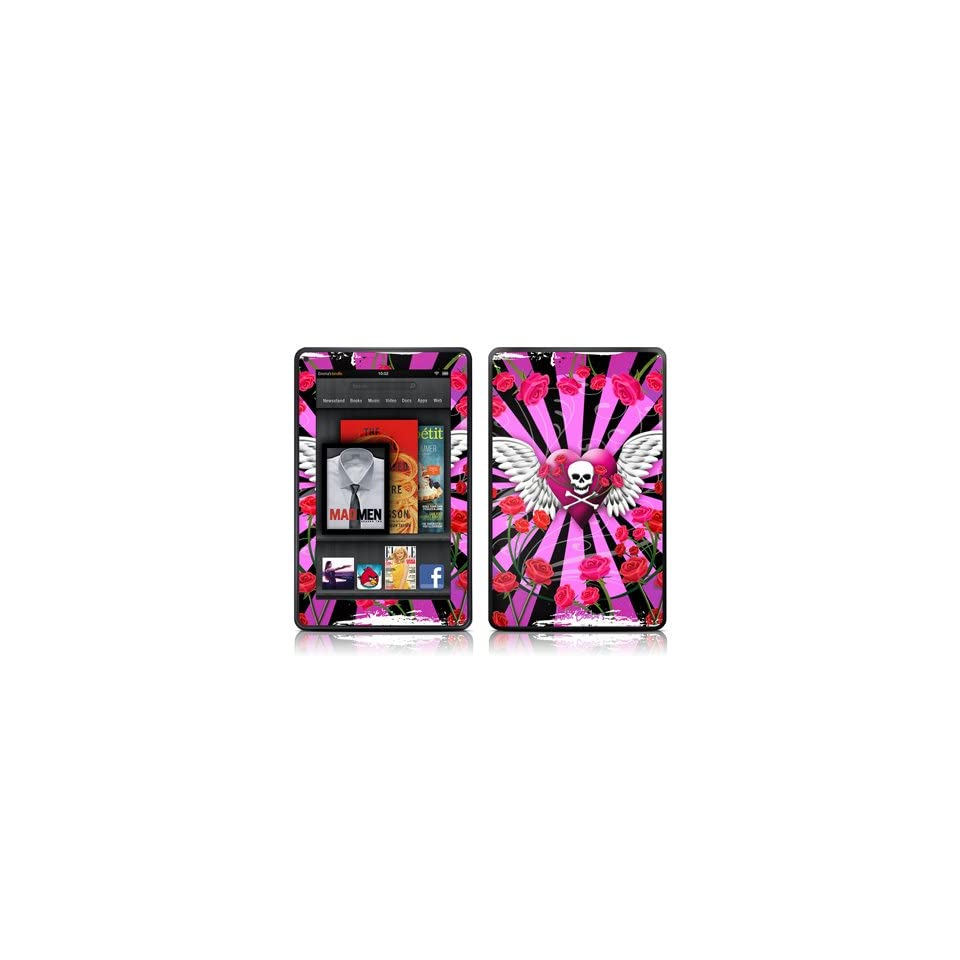 Skull & Roses Pink Design Protective Decal Skin Sticker (High Gloss Coating)   High Gloss Coating for  Kindle Fire (7 inch Color Multi Touch Display)
