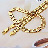 Real 24k Yellow Gold Gp Mens Necklace Bracelet Set Chain Jewelry Cool Type 12mm