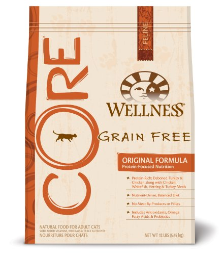 See Wellness Grain-Free Dry Cat Food for Adult Cats & Kittens, CORE Original Fish & Fowl Recipe, 12 lb. Bag