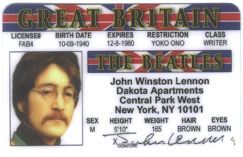 John Lennon Fun Fake ID License - 1
