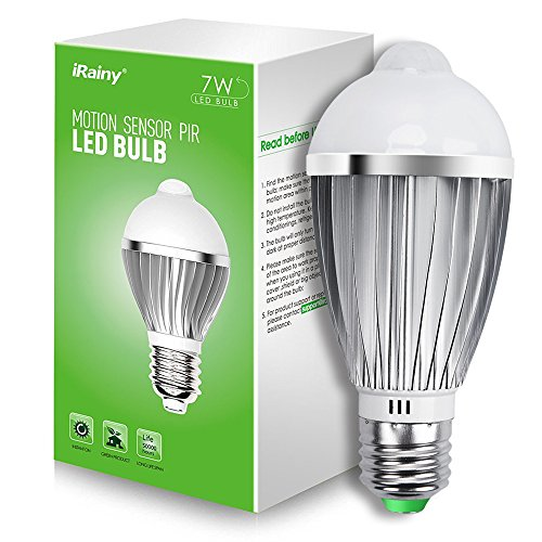 iRainy E27 7W PIR Infrared Sensor Motion Light Bulb, Warm White (Long Distance Temperature Sensor compare prices)