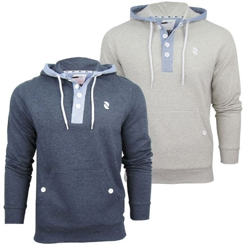 Mens D-Code 'Bourne' Marl Hoodie/ Hooded Sweater Jumper - Sports Grey Marl [Small]