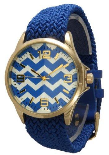 Женские наручные часы Geneva Braided Fabric Chevron Style Watch Gold Face - Royal Blue