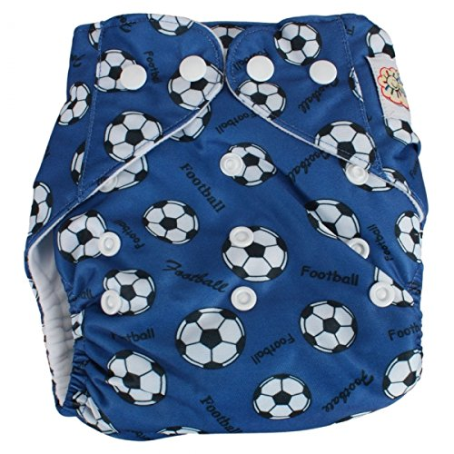 Baby Infant Pocket Size Adjustable Aio Cloth Diaper Nappy(1Diaper + 2Inserts) Blue Football 25000136