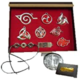 Touirch Anime Naruto Leaf Headband Sharingan Of Necklace Pendant Toys Set (A)