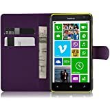 JAMMYLIZARD   Housse portefeuille & movie stand aspect cuir pour Nokia Lumia 625, Violet