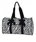 "Lar Lar Quilted Zebra Large 21"" Duffle Bag"
