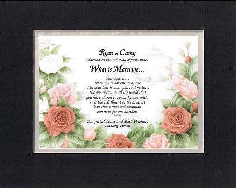 Personalized Touching And Heartfelt Poem For Wedding - What Is Marriage . . .Poem On 11 X 14 Inches Double Beveled Matting (Black On White) front-977569