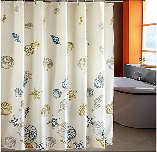 eforcurtain standard size beach pattern bathroom shower curtain fabric with h ebay. Black Bedroom Furniture Sets. Home Design Ideas