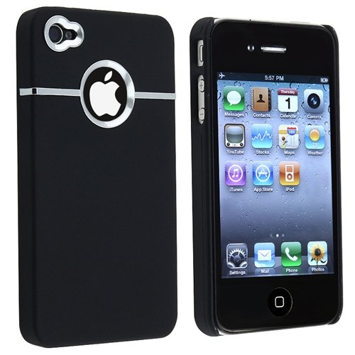 Snap-on Rubber Coated Case Compatible With Apple? iPhone? 4 AT&T, Black with Chrome Hole