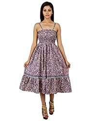 Trendy Polyester Floral Dress Blue Printed Medium For Ladies By Rajrang