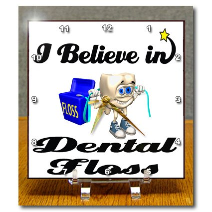 Dc_105091_1 Dooni Designs I Believe In Designs - I Believe In Dental Floss - Desk Clocks - 6X6 Desk Clock