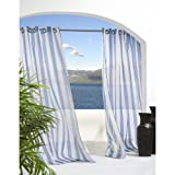 Outdoor Decor Escape Stripe Sheer Grommet Panel, Blue, Polyester, 54W x 108L in.