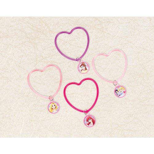 "Amscan Disney Princess Heart Bracelets, Pink/Light Pink/Purple, 2 7/8"" x 2 3/4"""