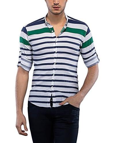 Philip Loren Camicia Uomo [Bianco/Verde Scuro]