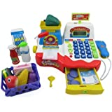 Supermarket Cash Register with Checkout Scanner, Weight Scale, Microphone, Calculator, Play Money and Food Shopping Playset for kids