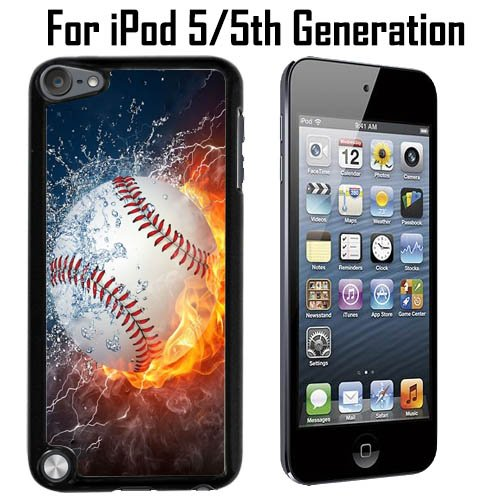 Ice and Fire Powerful Baseball Custom Case/ Cover/Skin *NEW* Case for Apple iPod 5/5G/5th Generation - Black - Plastic Case (Ships from CA) Custom Protective Case , Design Case-ATT Verizon T-mobile Sprint ,Friendly Packaging - Slim Case (Ebay Ipod 5 compare prices)