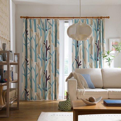 IN-FA-LA 北欧デザインカーテンシリーズ 2級遮光形状記憶カーテン「FOREST」(幅100cm×丈178cm/2枚組)ブルー