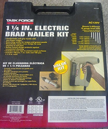 """Task Force 1 1/4"""" Electric Brad Nailer With Tacker Kit In Plastic Box"""