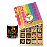Chocholik Luxury Chocolates - Sweet Sensation Of Dark And White Truffles And Chocolate Box With Birthday Mug