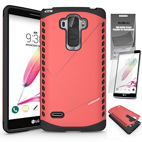 Click to buy LG G Stylo [Also Known as LG G4 Stylus LS770] Shield Bumper Dual Layer Case by ElBolt ¨ - Red with Free HD Screen Protector - From only $299