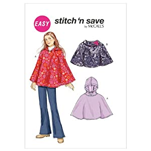 Amazon.com: McCall Patterns M65840A0 Girls' Ponchos Sewing Pattern