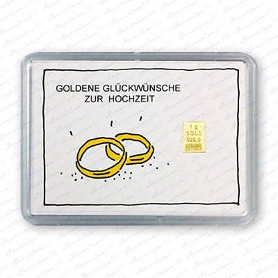 """Goldbarren 1g 1 Gramm Motivbox """" Hochzeit Ringe """" + Zertifikat von Securina24®"""