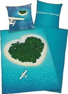 Herding 445976039 Bettwäsche Dream Island, Kopfkissenbezug: 80 x 80 cm und Bettbezug: 155 x 220 cm, 100 % Baumwolle, Renforce, Übergröße