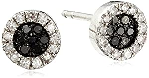 Sterling Silver 1/5 Cttw Black and White Diamond Round Stud Earrings (1/5Cttw, I-J Color, I2-I3 Clarity)