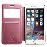 iPhone 6 /6s Plus ケース 窓付き サムスン人気 手帳型 軽量 カバー スタンド機能付き ウィンドウ フリップ スマホカバー 保護ケース 良質PUレザーケース「全5色」 (iPhone 6 /6s Plus, ピンク)