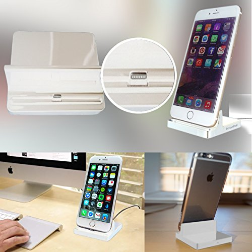 AmaziPro8 iPhone Charger Docking Station+ Mini Stylus Pen + Anti-Dust Plug + 5 downloadable books, Cradle Charging Sync Dock Station for Apple iPhone 6 Plus 6 6S 6SPlus 5 5S 5C (White)