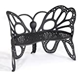 Flower House FHBFB06W Butterfly Bench, White