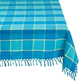 """Mahogany T415T6TQ Square """"Cristo"""" Plaid Fringed Tablecloth, 60 by 60-Inch, Turquoise"""