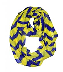 WishCart? Women's Infinity Scarf Loop Ring Light Weight Zig Zag Chevron Sheer Print,Size Bigger Then Others,Multi Color With 30 Different Colors-Yellow Blue