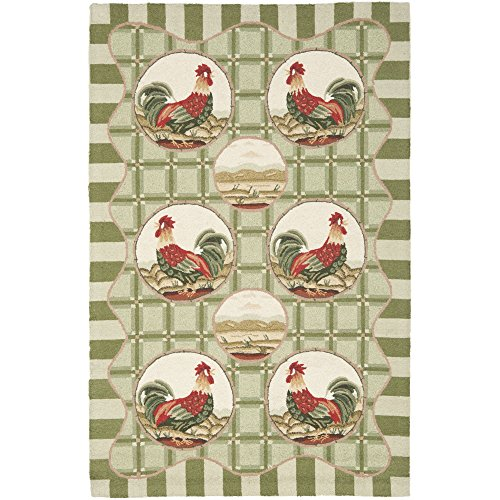 Safavieh Chelsea Collection HK64B Hand-Hooked Green Wool Area Rug, 5 feet 3 inches by 8 feet 3 inches (5'3