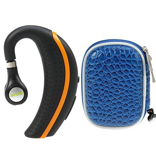 Ikross Black/ Orange Behind-The-Ear Wireless Bluetooth Handsfree Headset + Blue Small Eva Headset Case For Apple Iphone Samasung Htc Lg Motorola Nokia Cellphone Smartphone Tablet And More