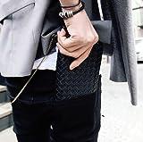 本格 メンズ 長財布 ブランド ボッテガ風 編み込み ブラック 黒