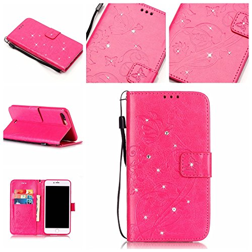 Custodia iphone 7 Plus , iphone 7 Plus Cover, Cozy Hut Scintillanti Diamanti Retro Fiore Modello Design Con Cinturino da Polso Magnetico Snap-on Book Style Internamente Silicone TPU Custodie Case in pelle Protettiva Flip Cover Per iphone 7 Plus - Red Rose