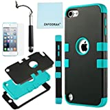 ZAFOORAH® Case Cover fits Apple iPod Touch 5 5th Generation Shock proof Impact Defender +Free Stylus+Screen Protector+Microfiber Cloth (Double Clip 3 Layers - BLACK/LIGHT BLUE)