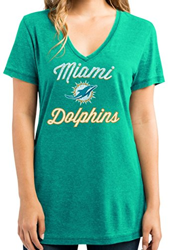 """Miami Dolphins Women's Majestic NFL """"Day Game"""" Burnout V-neck Shirt Camicia"""